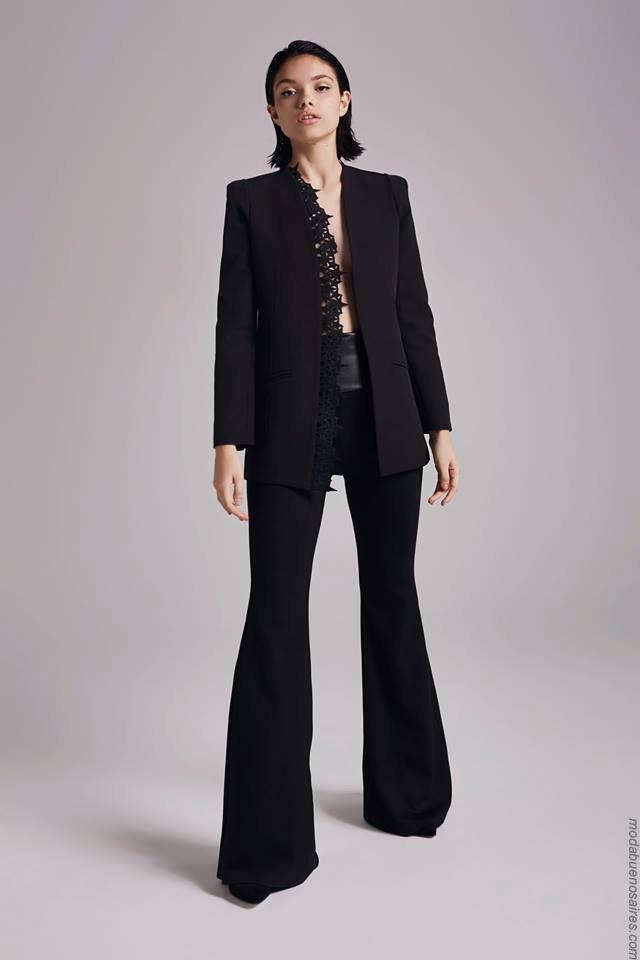 Moda otoño invierno 2019 ropa de mujer elegante y femenina.Trajes de mujer con pantalones oxford invierno 2019.