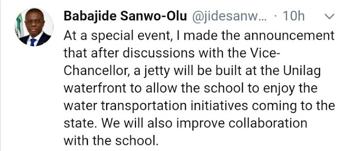 We Will Be Bluid a Jetty At UNILAG Waterfront – Lagos State Governor, Sanwo-Olu Says