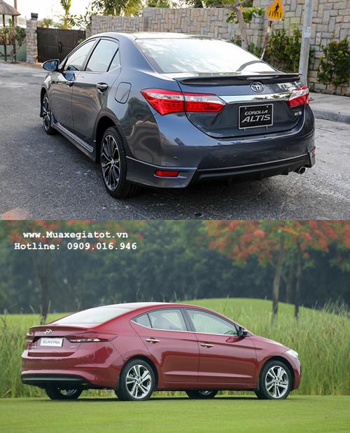 Cả hai dòng xe Altis và Elantra đều có thiết kế đuôi xe rất trẻ trung