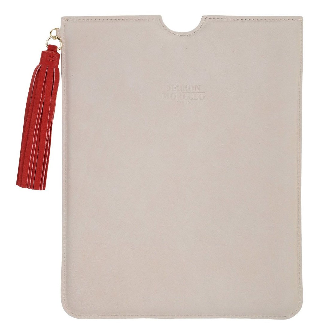 Frankie Morello Beige Tablet Case with red tassel