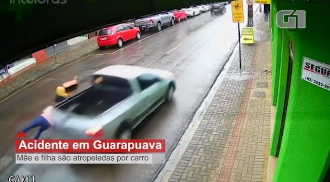 VÍDEO: Câmera flagra momento em que mãe e filha são atropeladas em Guarapuava