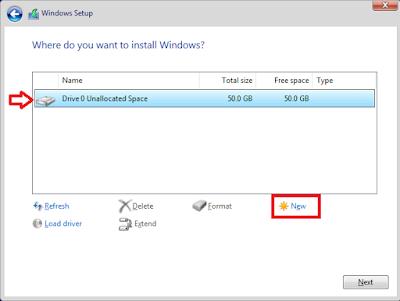 Install Windows 10 -Partisi Baru