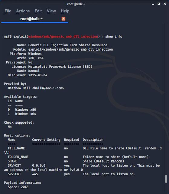 Metasploit Framework exploits info
