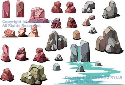 岩石イラスト、素材、イラスト素材、背景素材イラスト、イラストレーター検索、イラスト制作