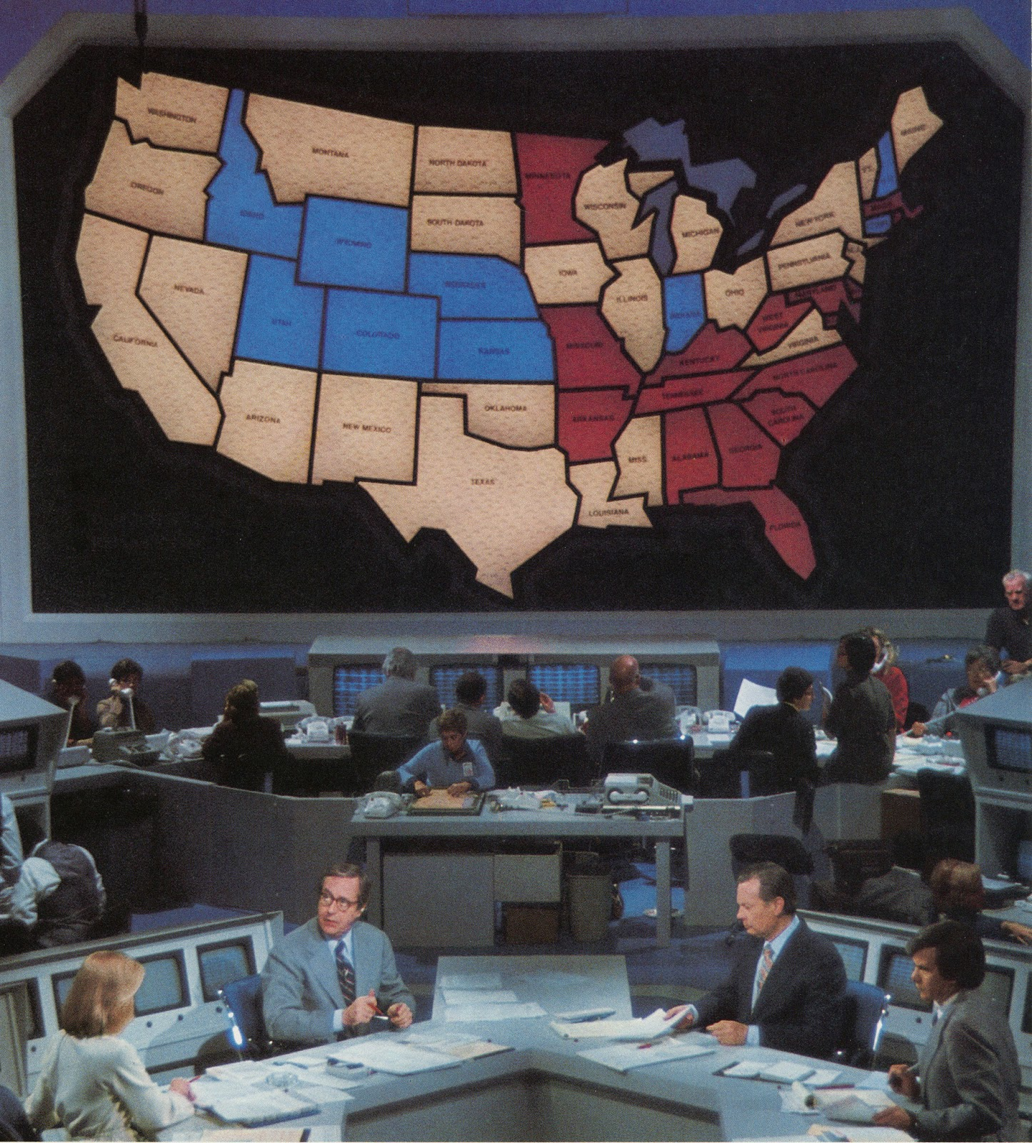 the original illuminated election map in 1976 with the nbc election central set john chancellor david brinkley and tom browcaw