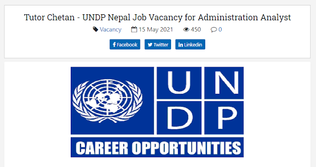 United Nations Development Programme (UNDP) Nepal Job Vacancy for Administration Analyst