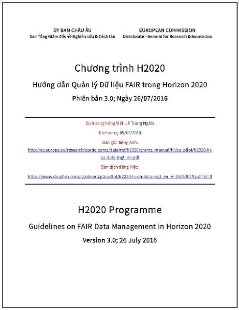 Chương trình H2020: Hướng dẫn Quản lý Dữ liệu FAIR trong Horizon 2020; Phiên bản 3.0