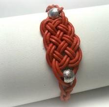 pulsera cuero rojo
