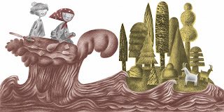 hansel and gretel in a chocolate boat on a chocolate sea coming to an island with stylised trees and goats on