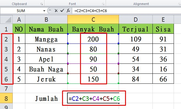 Rumus Penjumlahan di Excel serta Pengurangan, Perkalian dan Pembagian
