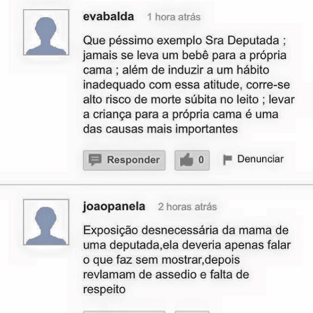 Así azotan a una diputada brasileña por publicar una foto amamantando a su bebé