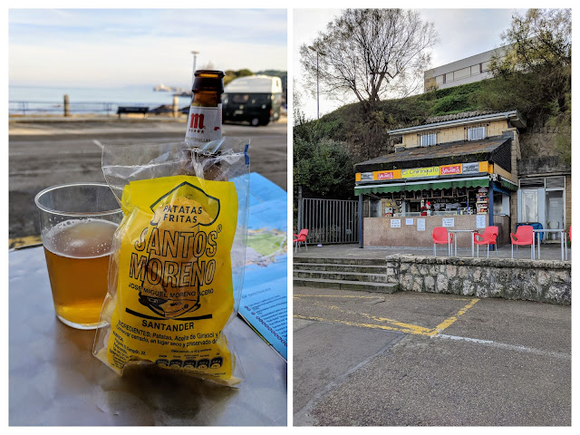 Things to do in Santander in winter: drink beer and eat crisps on the beach