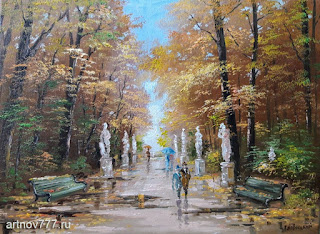 Картина. Осень в летнем саду