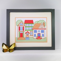 Row of houses stitching on card embroidery pricking pattern.