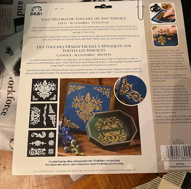 Photo of a scrolly stencil package from Folk Art