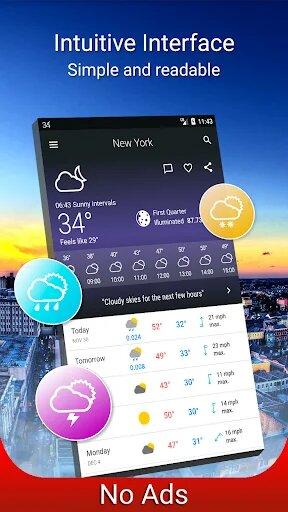 تحميل تطبيق Weather 14 days Pro v6.10.2 (Paid) Apk معرفة احوال الطقس للهاتف الذكي