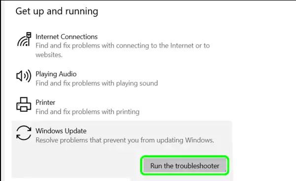 تشغيل مستكشف أخطاء Windows Update