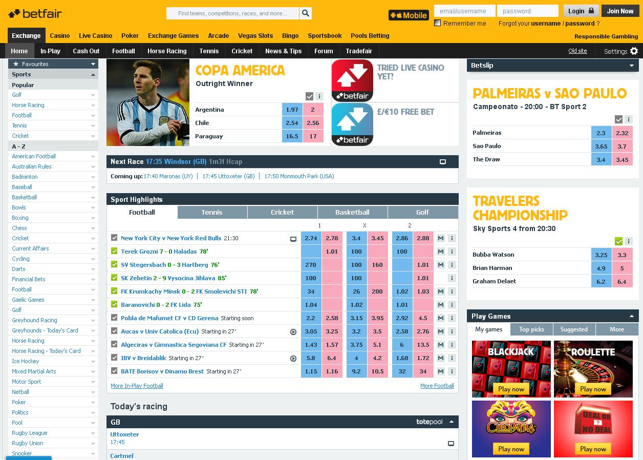 Betfair Sportsbook Screenshot
