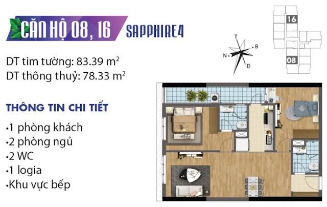 Mặt bằng thiết kế căn số 8 và 16 tòa Sapphire 4