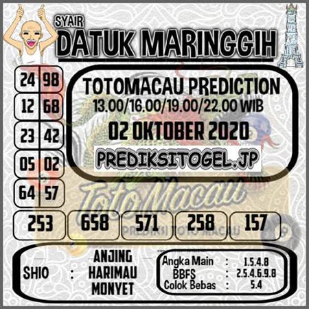Syair Datuk Maringgih Toto Macau Jumat 02 Oktober 2020