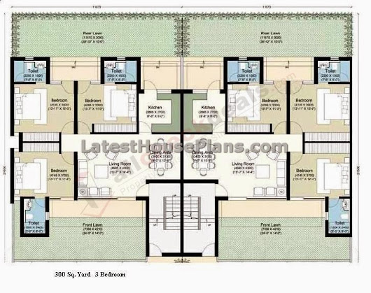 300 square yards 3 bhk row house plan above is the three for Common house plans