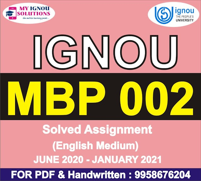 MBP 002 Solved Assignment 2020-21