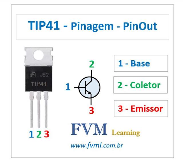 Pinagem - Pinout - Transistor - NPN - TIP41 - Características
