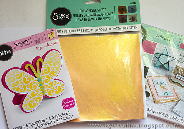 Layers of ink - Dimensional Butterfly Card Tutorial by Anna-Karin with Sizzix Brite-Ons Shimmery Paper Sheets.