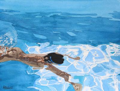 aquarelle, nageur nu, sous l'eau, série