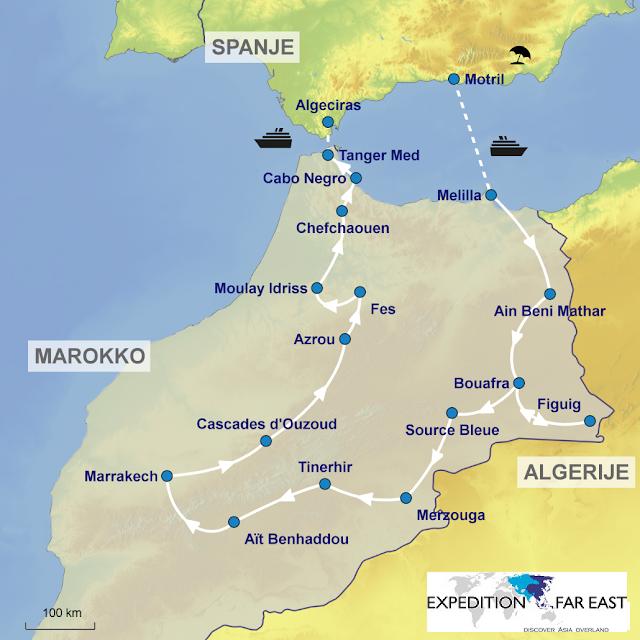 route camperreis door Marokko