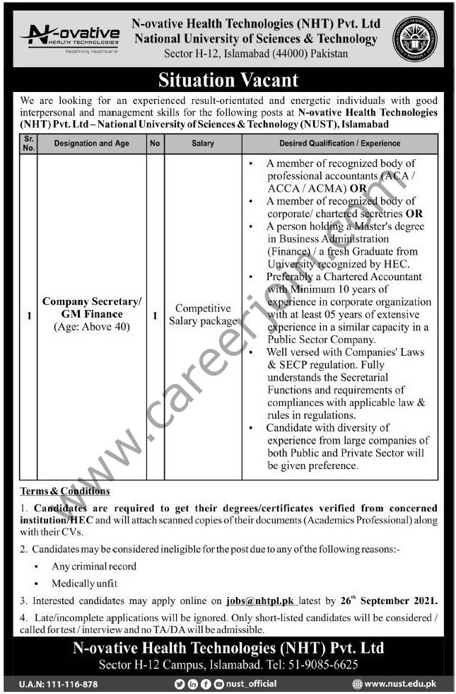 jobs@nhtpl.pk - N-ovative Health Technologies NHT Pvt Ltd Jobs 2021 in Pakistan