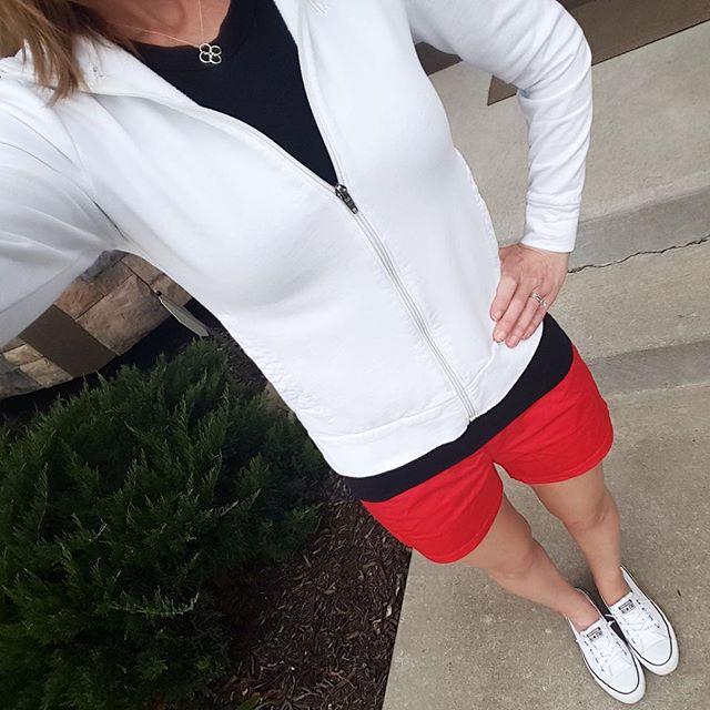 Banana Republic Factory Zip-Up (similar) // Express Tee // J. Crew Factory Shorts - 50% off! // Converse Tennis Shoes // Tiffany Necklace (similar - on sale for $20)