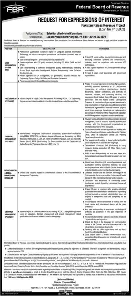 Latest Jobs in Federal Board of Revenue 2019