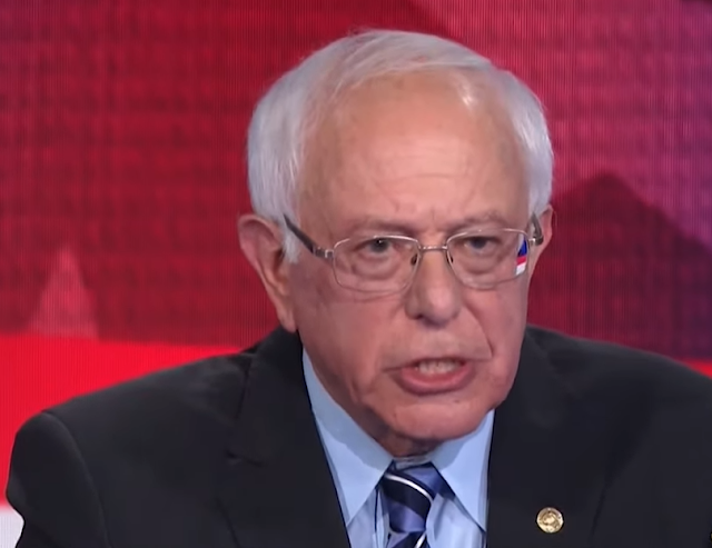 Bernie Sanders NBC 2019 June debate beautiful combed hair American flag glasses