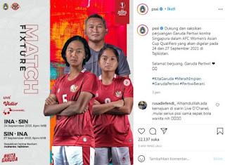Hari ini Laga Perdana Kualifikasi Piala Asia Wanita 2022, Indonesia VS Singapura