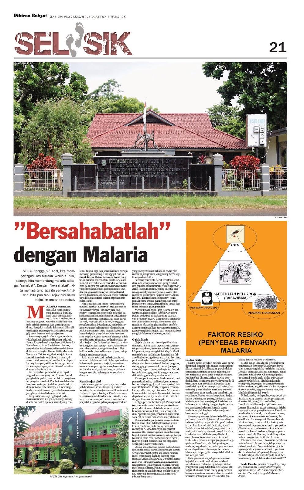 """""""Bersahabatlah"""" dengan Malaria"""