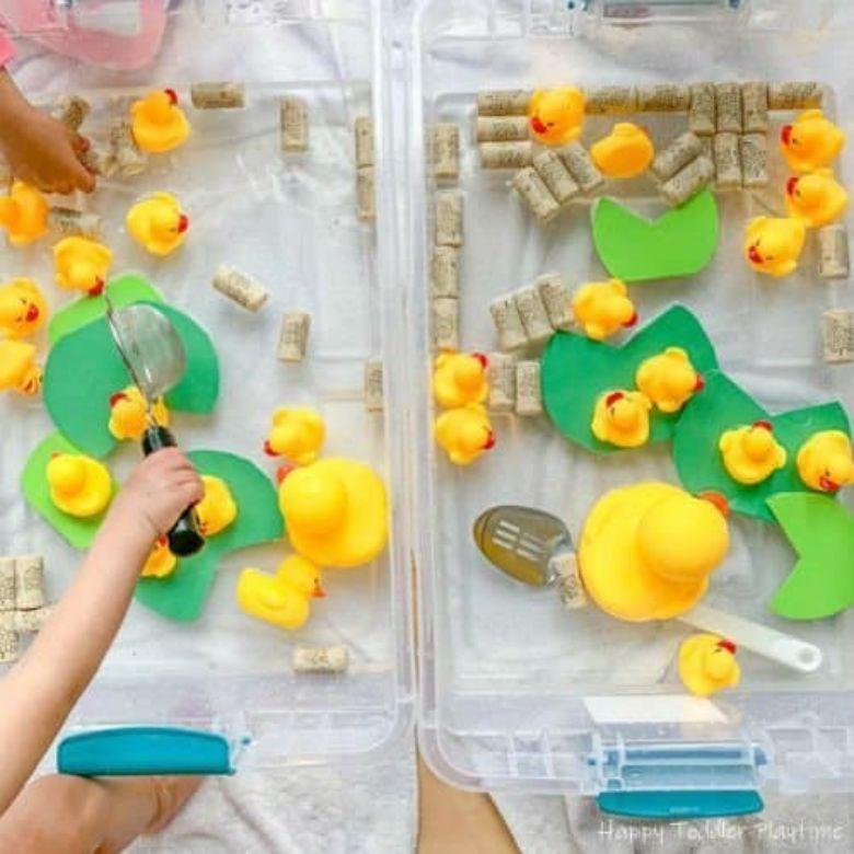 duck sensory bin water activities for kids