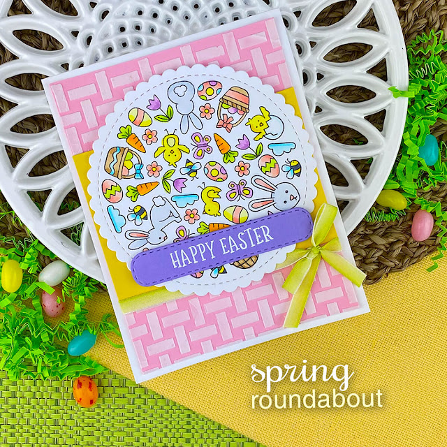 Happy Easter Card by Jennifer Jackson | Spring Roundabout Stamp Set, Basketweave Stencil, Circle Frames Die Set and Banner Trio Die Set by Newton's Nook Designs