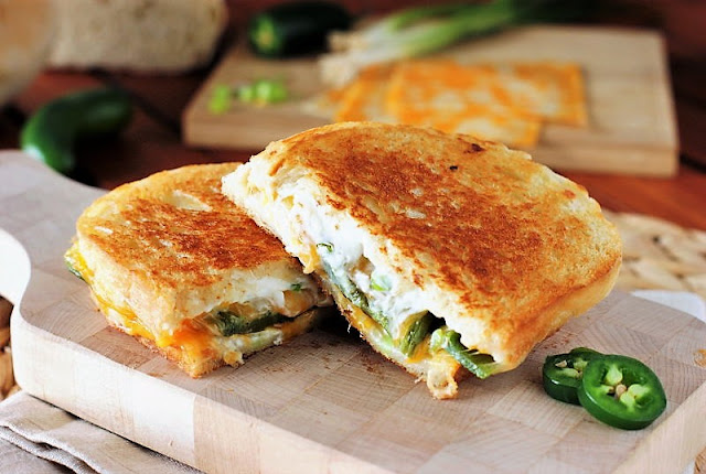 Jalapeno Popper Grilled Cheese with Roasted Jalapeno Peppers Image