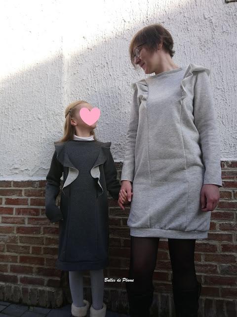 Bulles de Plume - duo robes sweat mère fille couture facile