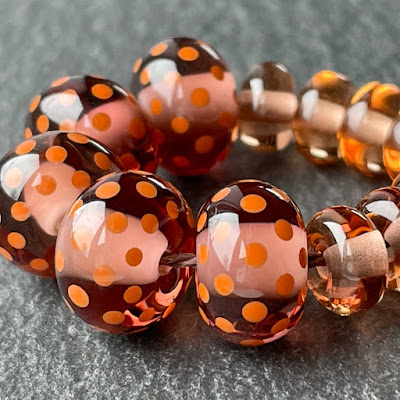 Handmade lampwork glass beads in Creation is Messy Burnt Sugar