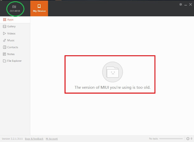 mi pc suite The version of MIUI you're using is too old