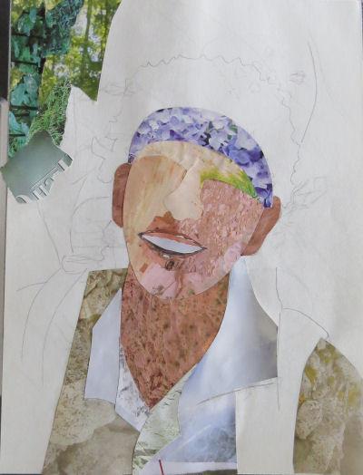 self portrait collage progress