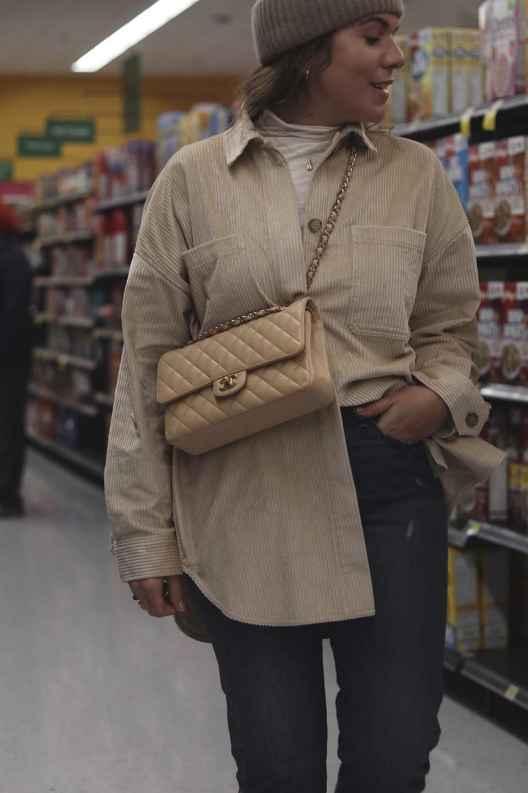aritzia corduroy jacket hm cashmere beanie chanel medium flap outfit