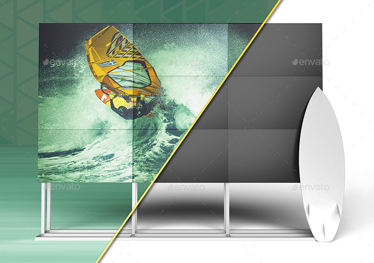 3D Animated Surfboard and HD Display Mock Up Scene Template 2705633