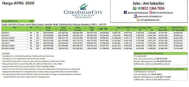 Harga Salvia Citra Indah City April 2020