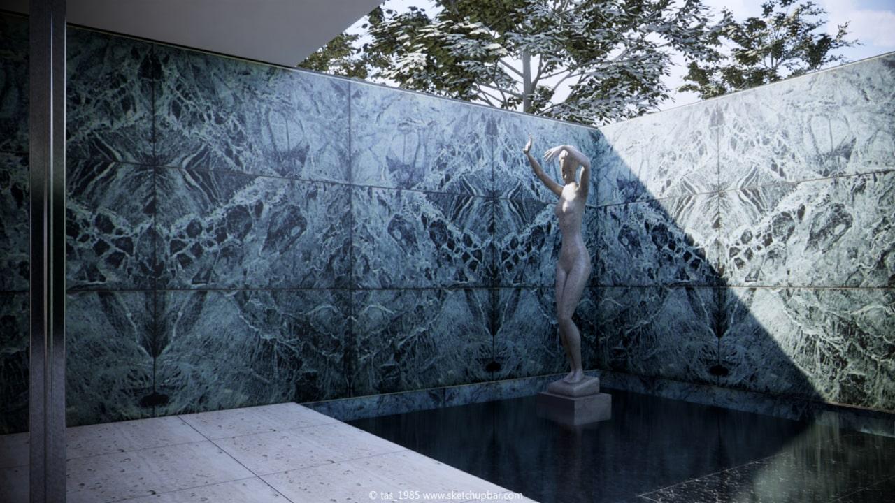 escultura en el pabellon de barcelona