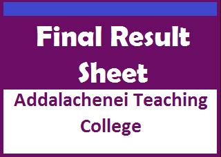 Final Result Sheet : Addalachenei Teaching College - Teacher