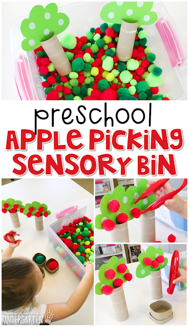 We LOVE this picking apples sensory bin. Great for tot school, preschool, or even kindergarten!