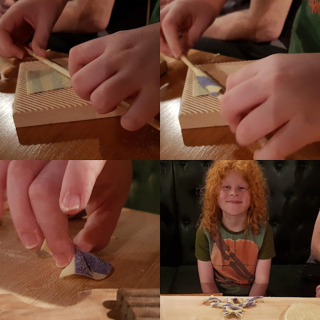 collage of 4 photos showing how to make striped farfalle and tube pasta